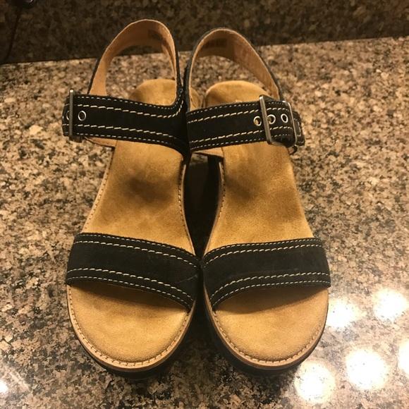 a6bd37b0d96 Clarks Shoes - Clarks black aisley orchid suede sandal.
